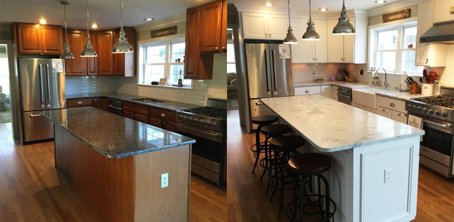 Before And After Of Kitchen Cabinet Refacing Project.